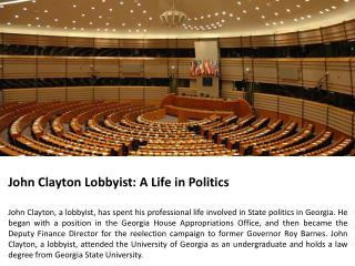 John Clayton Lobbyist-A Life in Politics