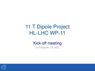 11 T Dipole Project HL-LHC WP-11