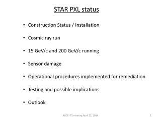 STAR PXL status