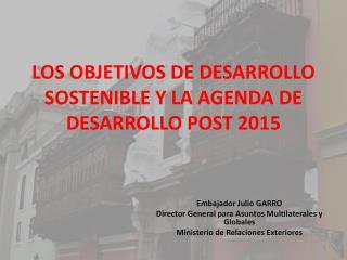 LOS OBJETIVOS DE DESARROLLO SOSTENIBLE Y LA AGENDA DE DESARROLLO POST 2015