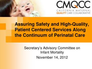 Assuring Safety and High-Quality, Patient Centered Services Along the Continuum of Perinatal Care