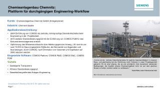 Chemieanlagen bau  Chemnitz :  Plattform für durchgängigen Engineering-Workflow