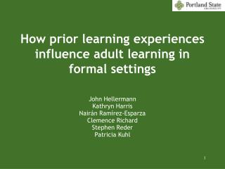 How prior learning experiences influence adult learning in formal settings