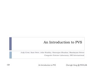 An Introduction to PVS