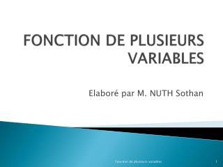 FONCTION  DE PLUSIEURS VARIABLES
