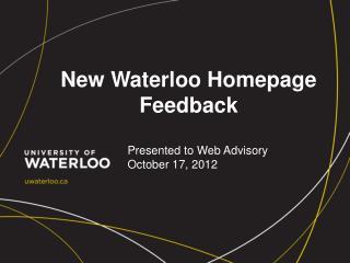 New Waterloo Homepage Feedback