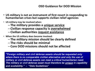 OSD Guidance for DOD Mission