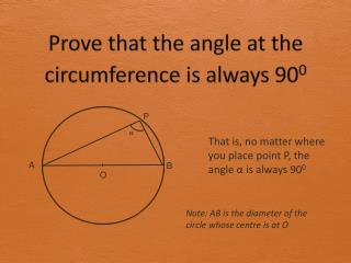 Prove that the angle at the circumference is always 90 0