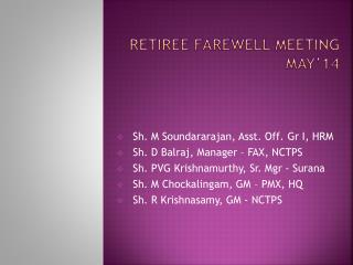 Retiree farewell meeting May'14