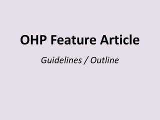OHP Feature Article