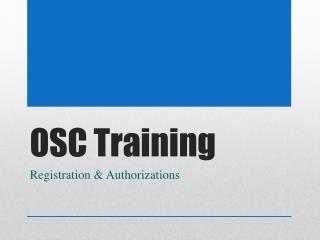 OSC Training