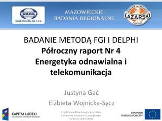 BADANIE METODĄ FGI I DELPHI Półroczny raport Nr 4  Energetyka odnawialna i telekomunikacja