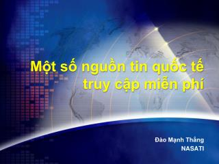 Một số nguồn tin quốc tế truy cập miễn phí