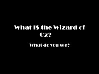 What IS the Wizard of Oz?