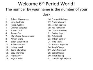 Welcome 6 th  Period World! The number by your name is the number of your desk