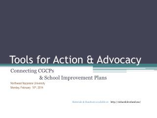 Tools for Action & Advocacy