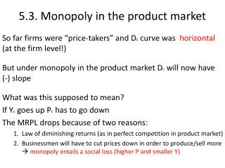 5.3. Monopoly in the product market