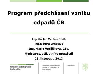 Program předcházení vzniku odpadů ČR