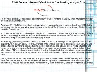 "PINC Solutions Named ""Cool Vendor"" by Leading Analyst Firm"
