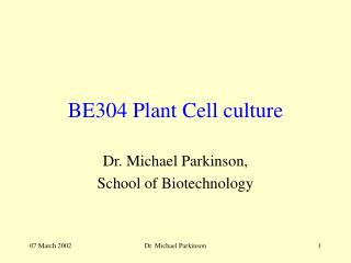BE304 Plant Cell culture