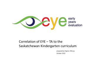 Correlation of EYE – TA to the Saskatchewan Kindergarten curriculum prepared by Virginia  Mireau