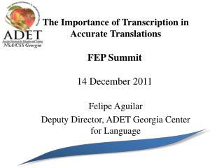FEP Summit 14 December 2011