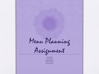 Menu Planning Assignment