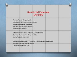 Servizio del Personale LNF-INFN