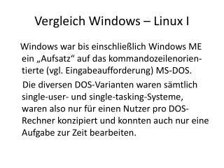 Vergleich Windows – Linux I