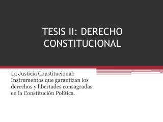 TESIS II: DERECHO CONSTITUCIONAL