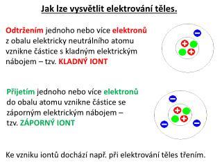 Jak lze vysvětlit elektrování těles.