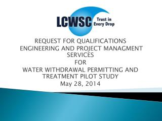REQUEST FOR QUALIFICATIONS  ENGINEERING AND PROJECT MANAGMENT SERVICES  FOR