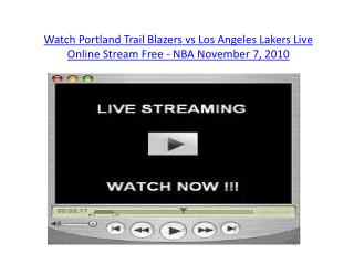 Watch Portland Trail Blazers vs Los Angeles Lakers Live Onli