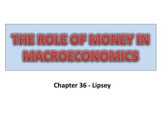THE ROLE OF MONEY IN MACROECONOMICS