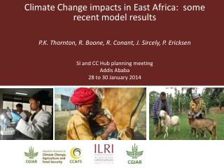 Climate Change impacts in East Africa:  some recent model results