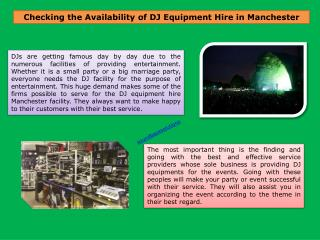 DJ Equipment & Stage Hire Manchester