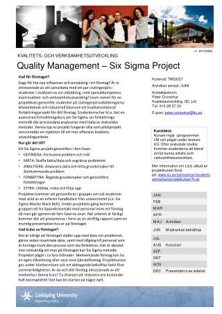 Quality Management – Six Sigma Project