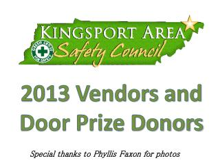 2013 Vendors and Door Prize Donors
