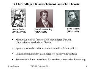3.1 Grundlagen Klassische/neoklassische Theorie