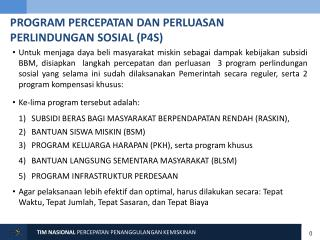PROGRAM  PERCEPATAN DAN PERLUASAN PERLINDUNGAN SOSIAL (P4S)