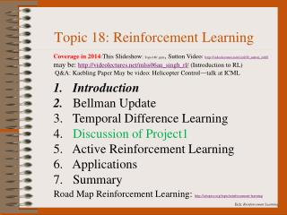 Topic 18: Reinforcement Learning