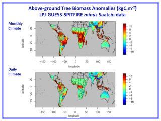 Above-ground Tree Biomass Anomalies (kgC.m -2 ) LPJ-GUESS-SPITFIRE  minus  Saatchi data