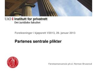 Forelesninger i kjøpsrett V2013, 29. januar 2013