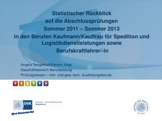 Statistischer Rückblick  auf die Abschlussprüfungen  Sommer 2011 – Sommer 2013