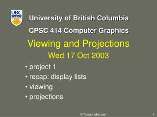 Viewing and Projections Wed 17 Oct 2003