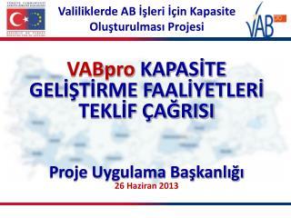 VABpro KAPASİTE GELİŞTİRME FAALİYETLERİ TEKLİF ÇAĞRISI Proje Uygulama Başkanlığı 26 Haziran 2013