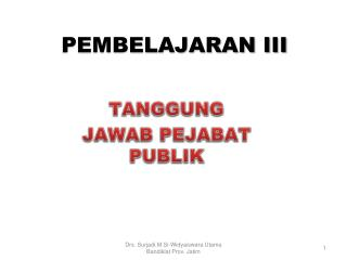 PEMBELAJARAN III