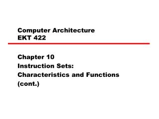 Computer Architecture  EKT 422