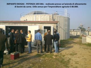 IMPIANTO BIOGAS - POTENZA 100  kWe Il  cogeneratore