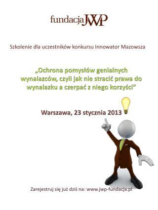 Szkolenie dla uczestników konkursu Innowator Mazowsza